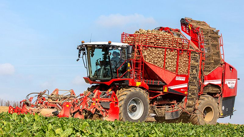 picture of a red combine harvester