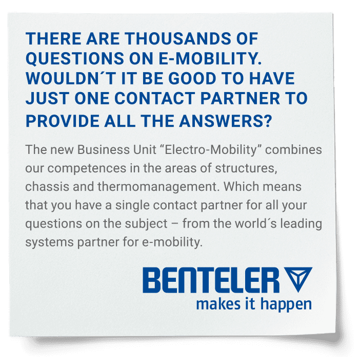 Post-it with BENTELER Automotive E-Mobility statement