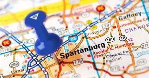 pushpin on map at Spartanburg