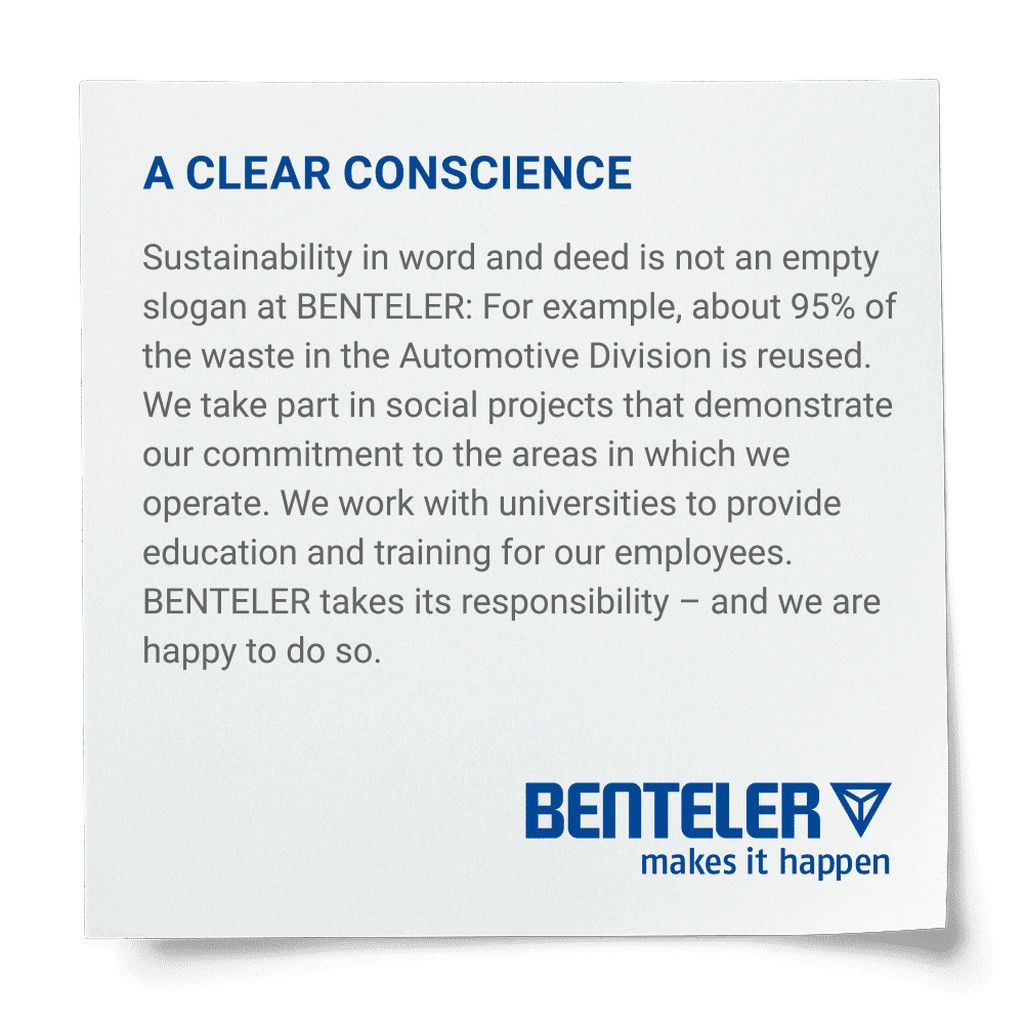 BENTELER post-it with sustainability statement