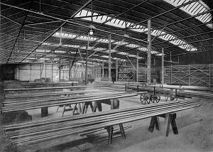 A warehouse for tubes in black and white